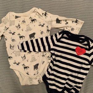 Bundle: 2 Baby Gap Long Sleeve Onesies